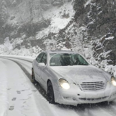 Driving in the snow.