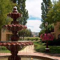 Fountain courtyard surrounded by vineyards