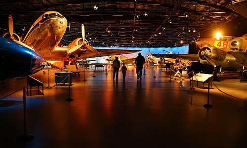 Originally built as an aircraft hangar during World War Two, the Aircraft Hall is home to 13 stunning vintage aircraft, all displayed under theatrical lighting.