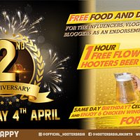 Come and Celebrate HOOTERS JAKARTA's BIRTHDAY THURSDAY 4 APRIL from 4 pm