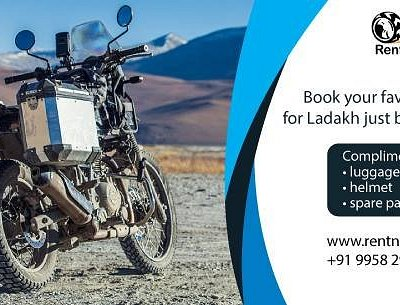 Book your favourite bike with us for Ladakh & get complimentary Luggage Carrier, Helmet & Spare parts