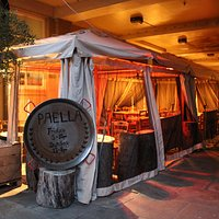 Our fully heated gazebos in the Patio Lounge