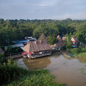 Aerial Picture of Arkana Amazon, the big structure is Chilloca, this is our guests' favorite place.  It houses a lounge, terrace, dining room and the main kitchen.