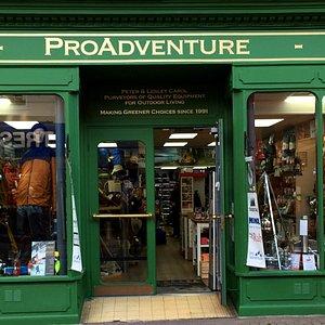 The ProAdventure Shop front in Llangollen, Denbighshire, North East Wales