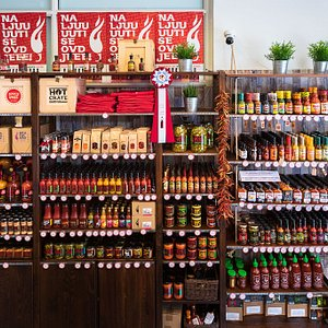 Chili section - a whole lot of hot sauces