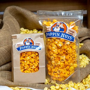Cheese! Poppin Huis carries a variety of gourmet cheese popcorn flavors.
