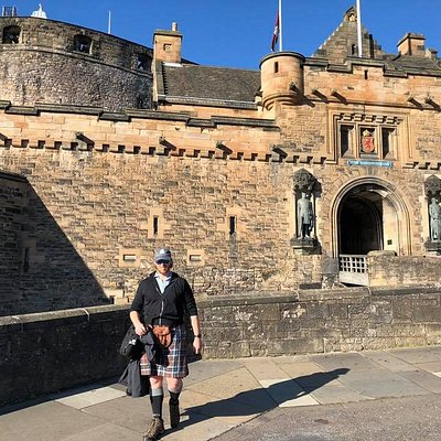 Edinburgh Castle tours can be added to our private walking tours.  Josh at the end of his tour is looking good in his Kilt.
