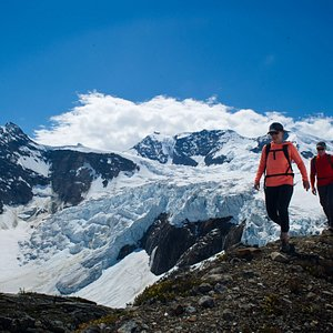 Glacier viewing; hiking by ancient ice.    (Photo Credit: CMH Cariboos_Mike Welch)