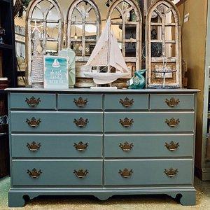 "Custom painted dresser in Dixie Belle Paint Co's ""Stormy Seas"""