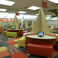 Children's Library features AWE computers and iPads.