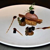 januari 19 mousse of duckliver ][ fig ][ pedro ximinez gel ][ beetroot blocks ][ roulleaux of qual