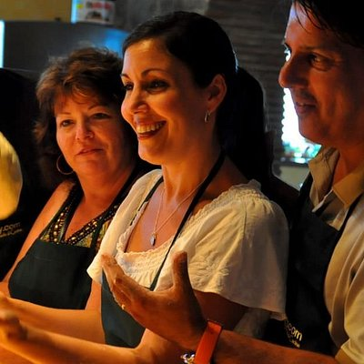 Making pizza dough on one of our Tuscan cooking vacations in Soriano nel Cimino