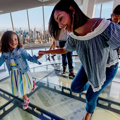 Sky Portal: Step on this 14-foot wide circular glass disc that offers an unforgettable perspective using high definition footage of the streets 100 floors below.