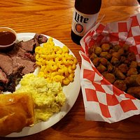 Brisket, Sauce, Roll, Mac&Cheese, Potato Salad, Fried Okra and a Miller Lite 🤤