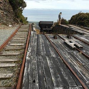 Rails for coal trollies.