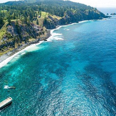 Cascade Bay drone image including Cascade Pier