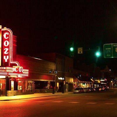 The fabulous art deco styled marquee of the Cozy Theatre in Wadena, Minnesota.