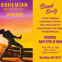 Saturday April 27th @ 8pm. Tickets €6.50. Box office 047 39777  Bohemian Rhapsody is an enthralling celebration of Queen, their music, and their extraordinary lead singer Freddie Mercury, who defied stereotypes and convention to become one of history's most beloved entertainers. Following Queen's meteoric rise, their revolutionary sound and Freddie's solo career, the film also chronicles the band's reunion, and one of the greatest performances in rock history.