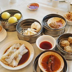 Dim sum in San Diego with traditional push-carts and steamer baskets.