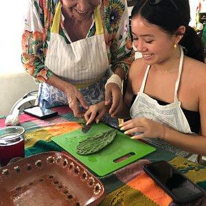 preparing cactus leaves for salad