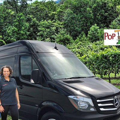 Chuck and La Tanya, Owners of Pop the Cork Wine Tours.  Ride in Style in our new Mercedes Sprinter.  Private Groups up to 13.