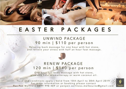 Easter packages are available now. Call us for an appointment today.