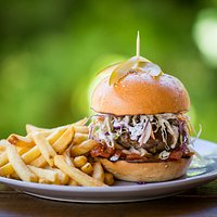 The River Lamb Burger and fries!