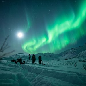 Aurora chasers under a full moon