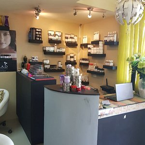 Our front desk, where you are warmly greeted. We also keep top quality products to be used in our services to you.