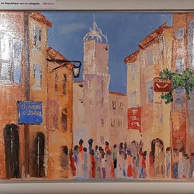 Oil on canvass, Rue de Republique L Isle sur la sorgue