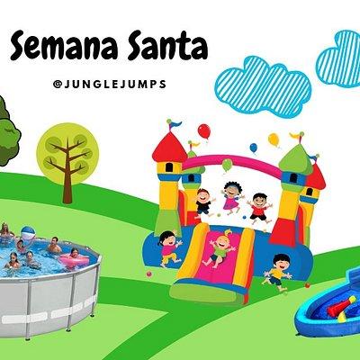 Si te quedaste en Tgu esta semana santa, Te esperamos en Jungle Jumps a disfrutar a lo grande en familia ! Inflables🤸🏻♀️🤸🏻♀️ + piscina 💦+ restaurante.🍔🥤 Horario de Semana Santa  Abril 13 y 14, 11:30am - 6:00pm 🕙 Abril 18 y 20, 11:00am - 6:00pm 🕙 Precio por niño: L. 1️⃣5️⃣0️⃣, Adultos entran gratis! 🎉