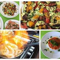 Avocado-orange salad, shrimps cooken in garlic, wine and rosemary