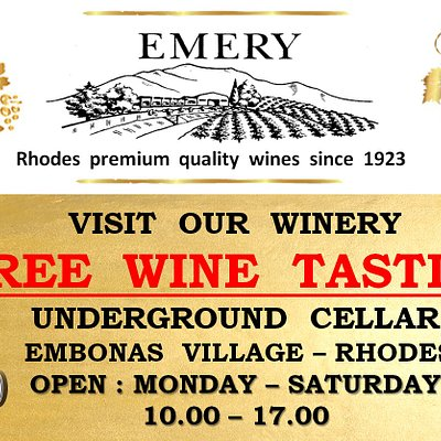 """""""Emery, a family owned and operated company was established on Rhodes in 1923. The company is now run by the third generation of the Triantafillou family. The name Emery originates from Emeric D'Amboise of French origin who was the Great Magistrate of Rhodes from 1503-1512. This modern family winery is located in the village of Embona."""""""