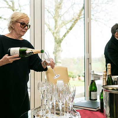 Tasting some fabulous English Sparkling Wine with Sibylla, the owner at High Clandon Estate Vineyard