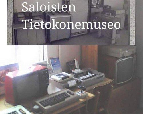 Tietokonemuseon kokoelmia, isoja ja pieniä koneita.