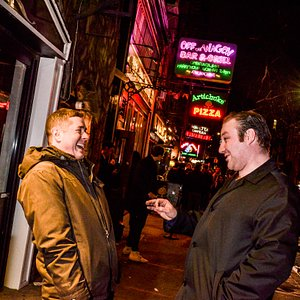 Comedians Ed McGowan and Zach Petrovich hanging outside the Pear.