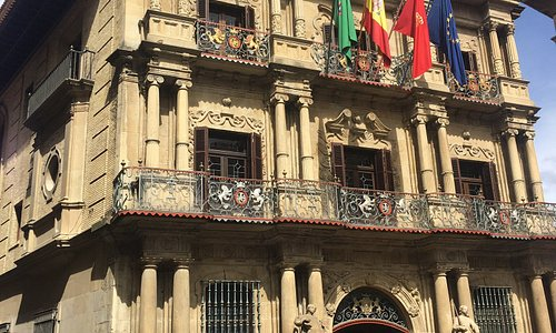 City hall in the old town of Pamplona. The front is from the original building...