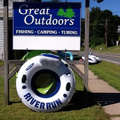 Great outdoors is located directly on the deerfield river on the Mohawk Trail (rte 2).  It offers an amazing river adventure to tube 3 miles from the point of water release to arrive back at the the grounds.  Great fun for the whole family.