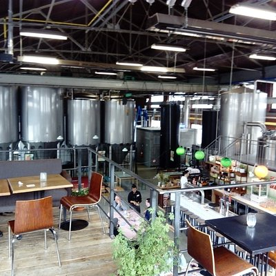 Tanks and restaurant/tap room at Antwerpse Brouw Compagnie