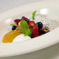 Chia and coconut bowl - mango puree, Raglan coconut yoghurt, granola, fresh fruit (Dairy free, vegetarian)