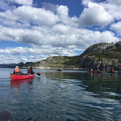 Canoeing Down the Yukon River on Lake Laberge