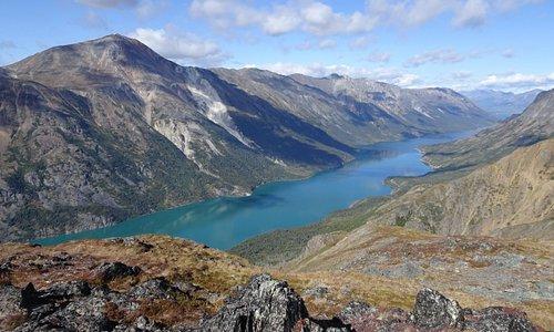 Turquoise water of Lake Bennett.  Carcross, Yukon.