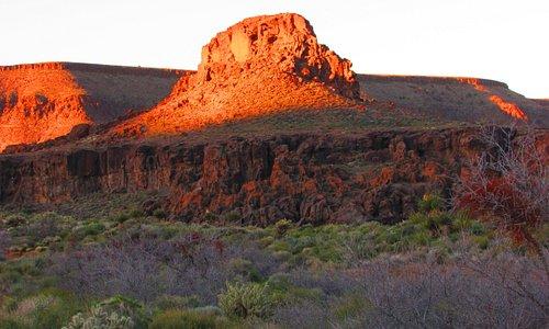 Sunrise on the mountains of Wild Horse Canyon.