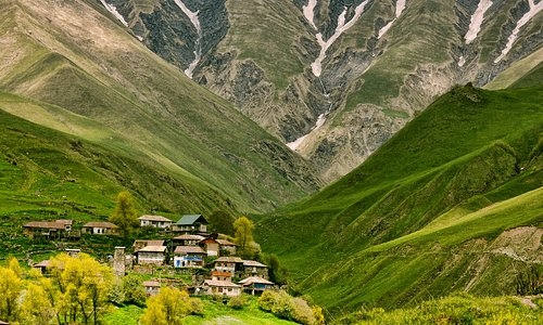 village Tskere, khada valley, historical ethnographic part of Mtliuleti Region, stronghold defending the road between Northern and Southern Caucasus with 60 medieval towers. beautiful waterfall and  mineral water spring.