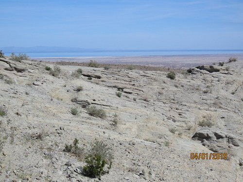 The Salton Sea in the distance from the top of the Calcite Mine Trail.