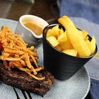 10oz Sirloin Steak  Grilled Portobello Mushroom, Crispy Onions  Choice of Peppercorn Sauce or Garlic Butter