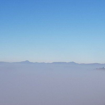 Ben Craigforth rising from a sea of mist.