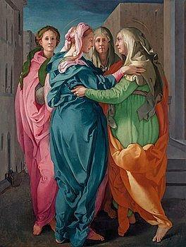 Dipinto a olio della Visitazione di Maria. Autore Pontormo, prima metà del '500