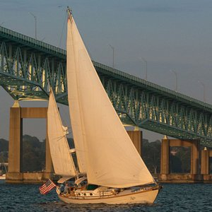 Lyra catches the last rays of a setting sun, with the Newport Bridge as a backdrop.