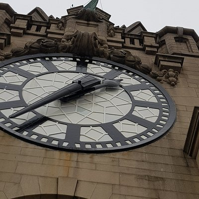 close up of one of the clock faces at the first stop on 10th floor